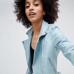 Light blue Bershka leather jacket (never worn!)
